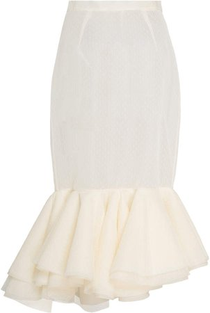 Passiflora Fitted Dotted Tulle Trumpet Skirt