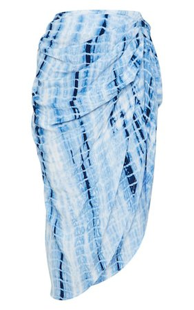 Blue Tie Dye Ruched Side Midi Skirt | Co-Ords | PrettyLittleThing