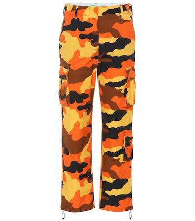 Camouflage cotton wide-leg pants