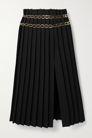 Chain-embellished Pleated Crepe Midi Skirt - Black