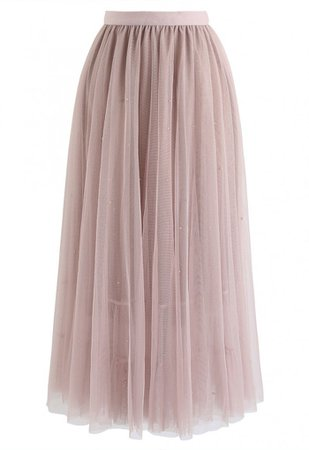 Beads Embellishment Tulle Mesh Skirt in Pink - NEW ARRIVALS - Retro, Indie and Unique Fashion