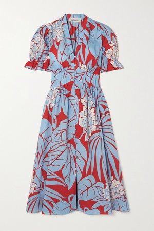 Blue Erica gathered printed cotton midi dress | Diane von Furstenberg | NET-A-PORTER