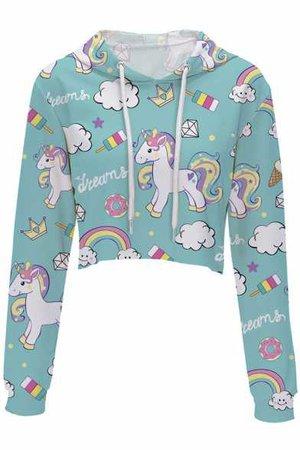 Cute Cartoon Unicorn Rainbow Printed Long Sleeve Crop Hoodie - Beautifulhalo.com