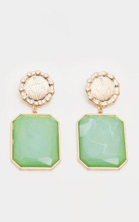 Green Semi Precious Stone Door Knocker Earrings - Statement Earrings - Earrings - Jewelry - from $4 - Accessories   PrettyLittleThing USA