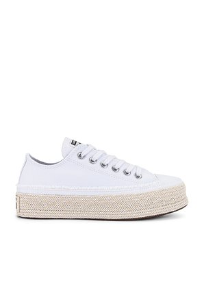 Converse Chuck Taylor All Star Espadrille Sneaker in White, Black, & Natural | REVOLVE