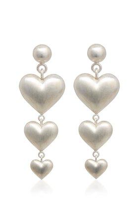 Triple Heart Sterling Silver Earrings by Rachel Quinn | Moda Operandi