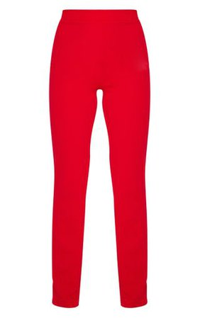 Red Straight Leg Suit Pants   Pants   PrettyLittleThing USA