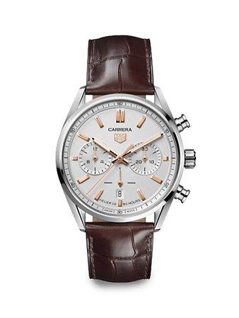 TAG Heuer Carrera Elegance 42MM Stainless Steel & Alligator Strap Automatic Chronograph Watch | SaksFifthAvenue