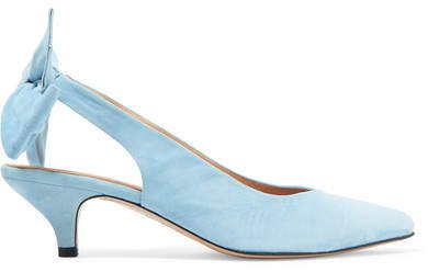 Sabine Suede Slingback Pumps - Light blue