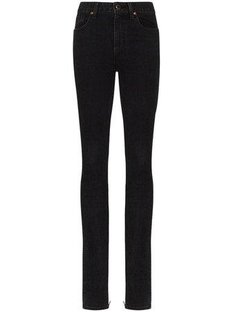 Khaite ankle-zip mid-rise skinny jeans
