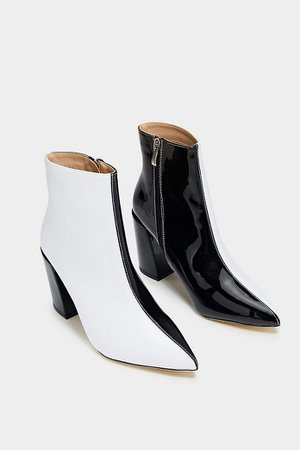 Nasty Gal double take boots black white two tone and & ankle heels heeled