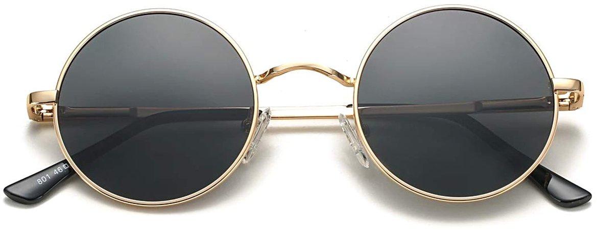 Amazon.com: COASION Retro Small Round Polarized Sunglasses John Lennon Style Circle UV400 Sun Glasses (Gold Frame/Clear Pink Lens)…: Clothing