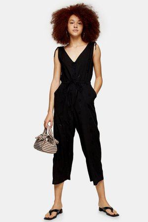 Black Relaxed Embroidery Jumpsuit | Topshop