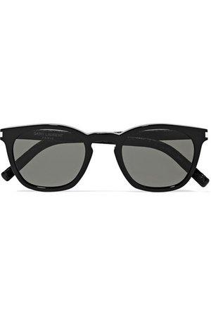 Saint Laurent | Cat-eye acetate and croc-effect leather sunglasses | NET-A-PORTER.COM