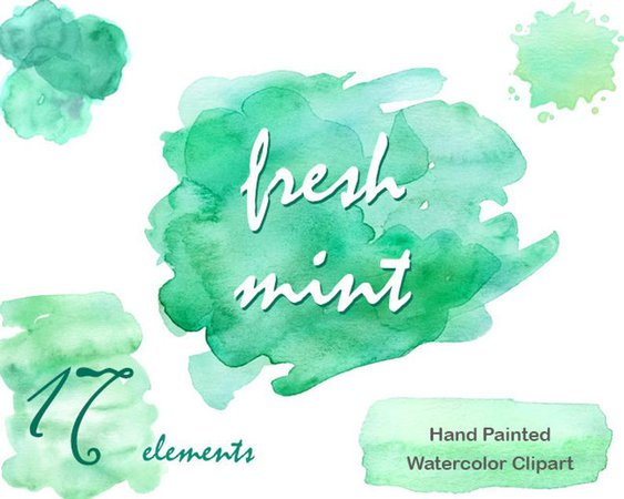 Watercolour clipart Commercial use mint green watercolor | Etsy
