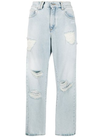 Off-White Ripped Straight Leg Jeans - Farfetch