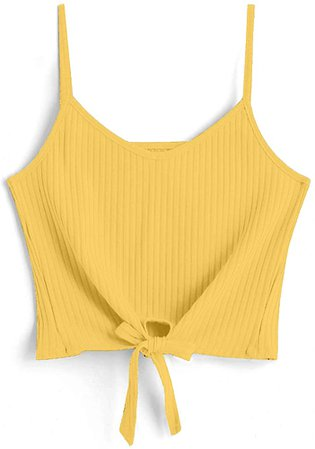 ZAFUL Women's Tank Top Tie Knot Front V Neck Casual Sleeveless Strappy Crop Cami Tops Camisole Yellow S at Amazon Women's Clothing store