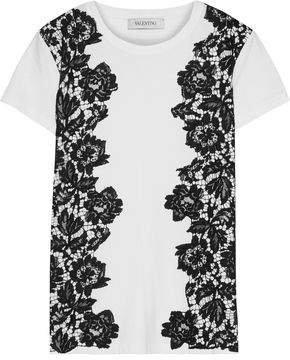 Corded Lace-paneled Cotton-jersey T-shirt