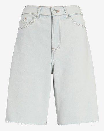 Super High Waisted Raw Hem Bermuda Jean Shorts