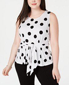 INC International Concepts I.N.C. Plus Size Gingham Lace-Up Top, Created for Macy's & Reviews - Tops - Plus Sizes - Macy's