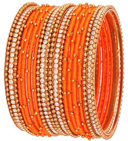 Buy Nmii Orange Silk Thread Bangle Set For Women Online at Low Prices in India | Amazon Jewellery Store - Amazon.in