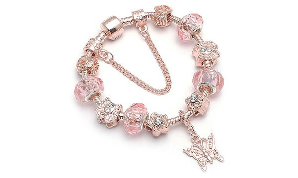 18K Rose Gold Plated Pink Crystal Butterfly Charm Bracelet Made With Swarovski Elements