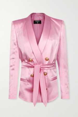 Belted Double-breasted Silk-satin Blazer - Pastel pink