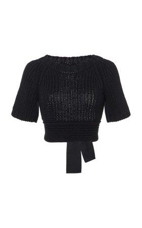 Open Back Short Sleeve Knit Top by Red Valentino   Moda Operandi