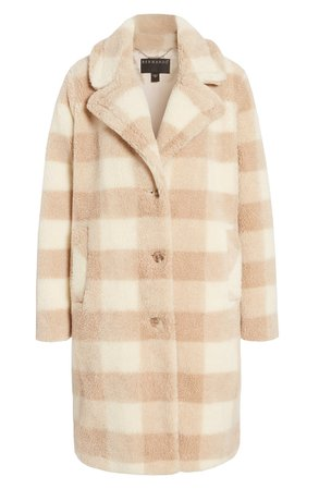 Bernardo Check Teddy Faux Fur Coat | Nordstrom