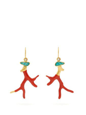 Napoli Coral gold-plated brass drop earrings | Lizzie Fortunato | MATCHESFASHION.COM