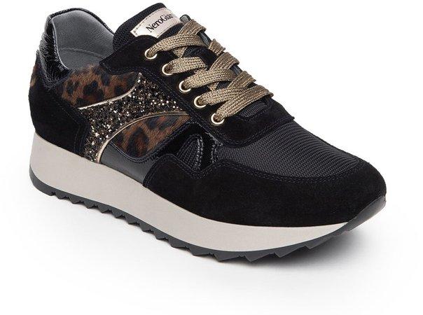Leopard Glitter Runner Sneaker
