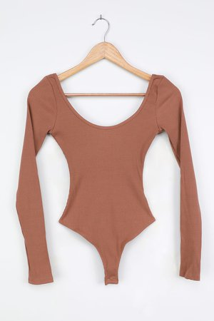 Basic Tan Bodysuit - Scoop Neck Bodysuit - Ribbed Long Sleeve Top - Lulus