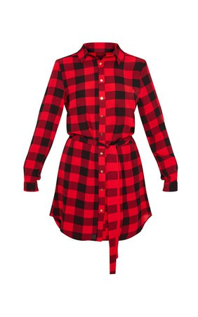 Red Check Print Button Front Shirt Dress   PrettyLittleThing USA