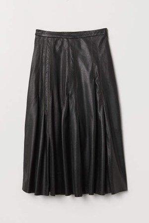 Knee-length Leather Skirt - Black