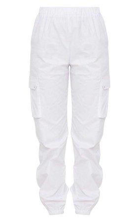 White Pocket Detail Cargo Pants