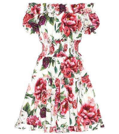 Dolce & Gabbana - Floral off-the-shoulder cotton dress | Mytheresa