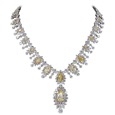 Yellow Diamond Necklace For Sale at 1stDibs