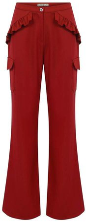 Red Side Frills & Pockets Pant
