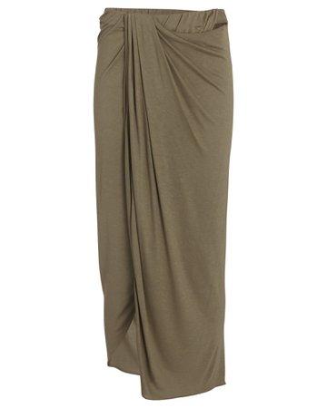 Helmut Lang Draped Silk Midi Skirt | INTERMIX®