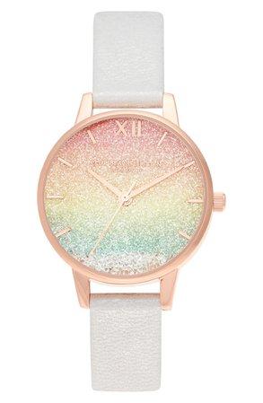 Olivia Burton Rainbow Glitter Ombré Wishing Watch, 30mm | Nordstrom