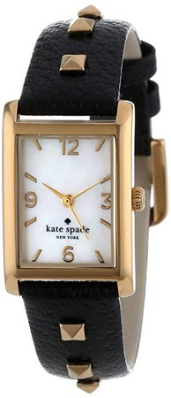 Amazon.com: kate spade new york Women's 1YRU0245 Pyramid Cooper Watch With Black Leather Band: Clothing