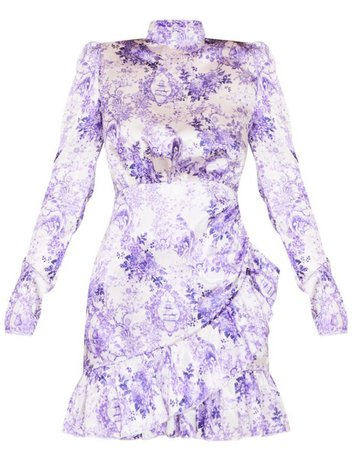 Lilac Porcelain Print High Neck Frill Detail Bodycon Dress