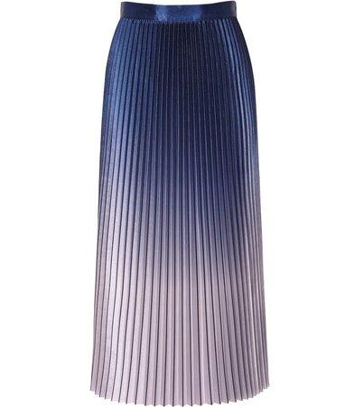 Anna Blue Metallic Ombre Pleated Midi Skirt – REISS