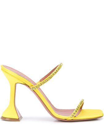 Amina Muaddi Gilda 95Mm Open Toe Sandals GILDASLIPPER Yellow | Farfetch