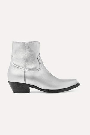 Lukas Leather Ankle Boots - Silver
