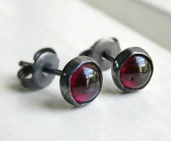 Oxidized Garnet Stud Earrings Red Stud Earrings Gemstone | Etsy