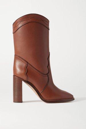 Tan Kate leather ankle boots | SAINT LAURENT | NET-A-PORTER