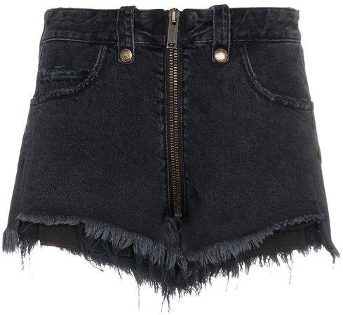 Unravel Project front zip cotton jeans shorts