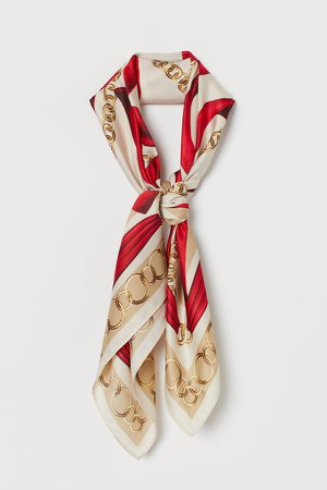Patterned Satin Scarf - Red