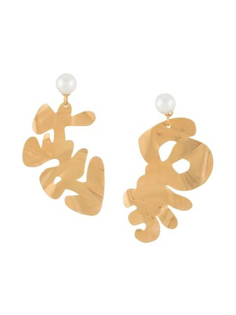 Shop gold Marni abstract-design drop earrings with Express Delivery - Farfetch